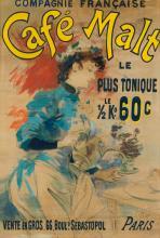 LUCIEN LEFÈVRE (1850-?). CAFÉ MALT. Gouache and charcoal maquette. 1892. 46x31 inches, 118x80 cm. Chaix, Paris.