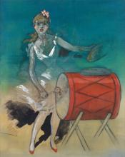 JULES CHÉRET (1836-1932). [GIRL WITH DRUM.] Gouache and charcoal on paper. 38x30 inches, 97x77 cm.
