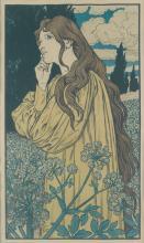 EUGÈNE GRASSET (1845-1917). [MEDITATION.] 1897. 30x17 inches, 78x44 cm. [Malherbe, Paris.]