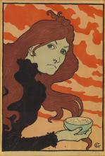 EUGÈNE GRASSET (1845-1917). [LA VITRIOLEUSE.] 1894. 23x16 inches, 59x41 cm. [André Marty, Paris.]