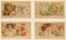 LUDEK MAROLD (1865-1898). L''EQUITABLE DES ETATS - UNIS. Group of 4 calendar sheets. 1899. Each 8x13 inches, 20x34 cm. [Lemercier, Pari