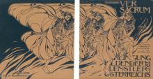 KOLOMAN MOSER (1868-1918). VER SACRUM. Magazine front and back covers. February, 1898. 11x21 inches, 29x55 cm. Gerlach & Schenk, Vienna