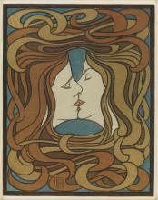 PETER BEHRENS (1868-1940). [DER KUSS.] 1898. 11x8 inches, 28x22 cm.