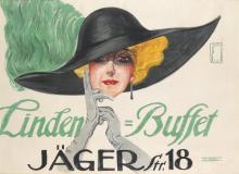ERNST DEUTSCH (1883-1938). LINDEN BUFFET. 1910. 27x37 inches, 70x95 cm. Hans Lindenstaedt, Charlottenburg.
