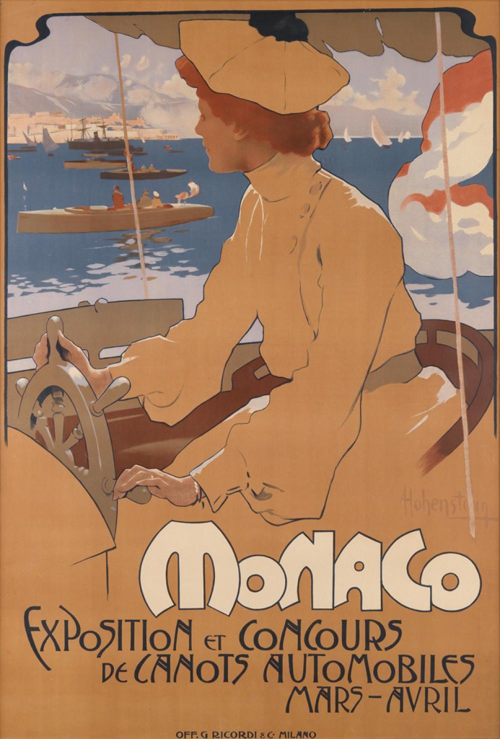 ADOLFO HOHENSTEIN (1854-1928). MONACO / EXPOSITION ET CONCOURS DE CANOTS AUTOMOBILES. 1900. 47x32 inches, 119x81 cm. G. Ricordi & C., M