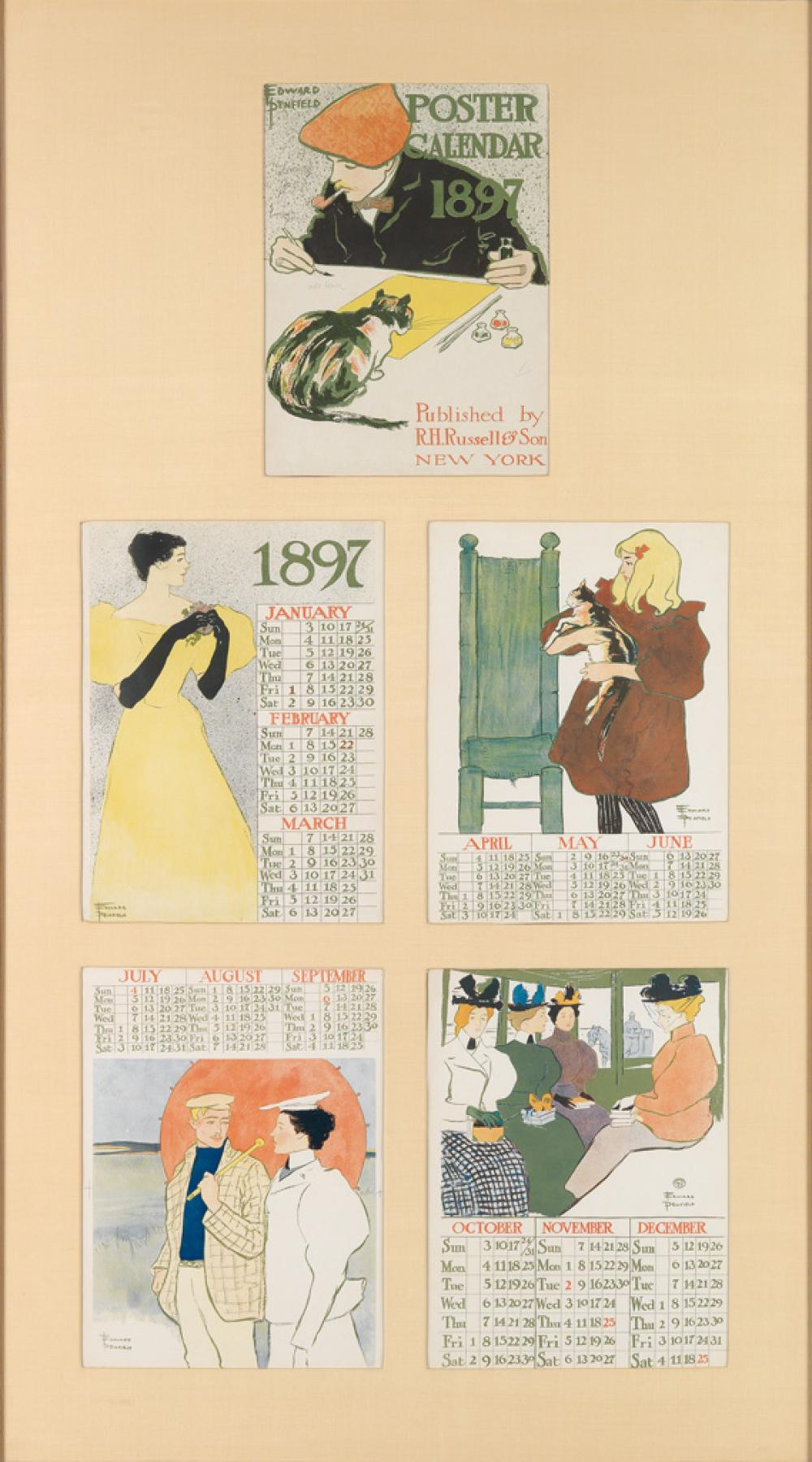 EDWARD PENFIELD (1866-1925). POSTER CALENDAR. Group of 5 sheets. 1896. Each approximately 14x11 inches, 36x28 cm. R.H. Russell & Son, N