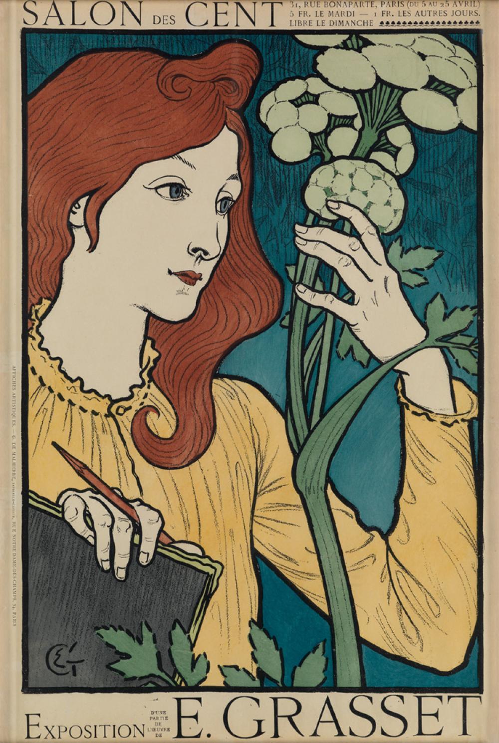 EUGÈNE GRASSET (1845-1917). SALON DES CENT. 1894. 23x15 inches, 59x39 cm. G. de Malherbe, Paris.
