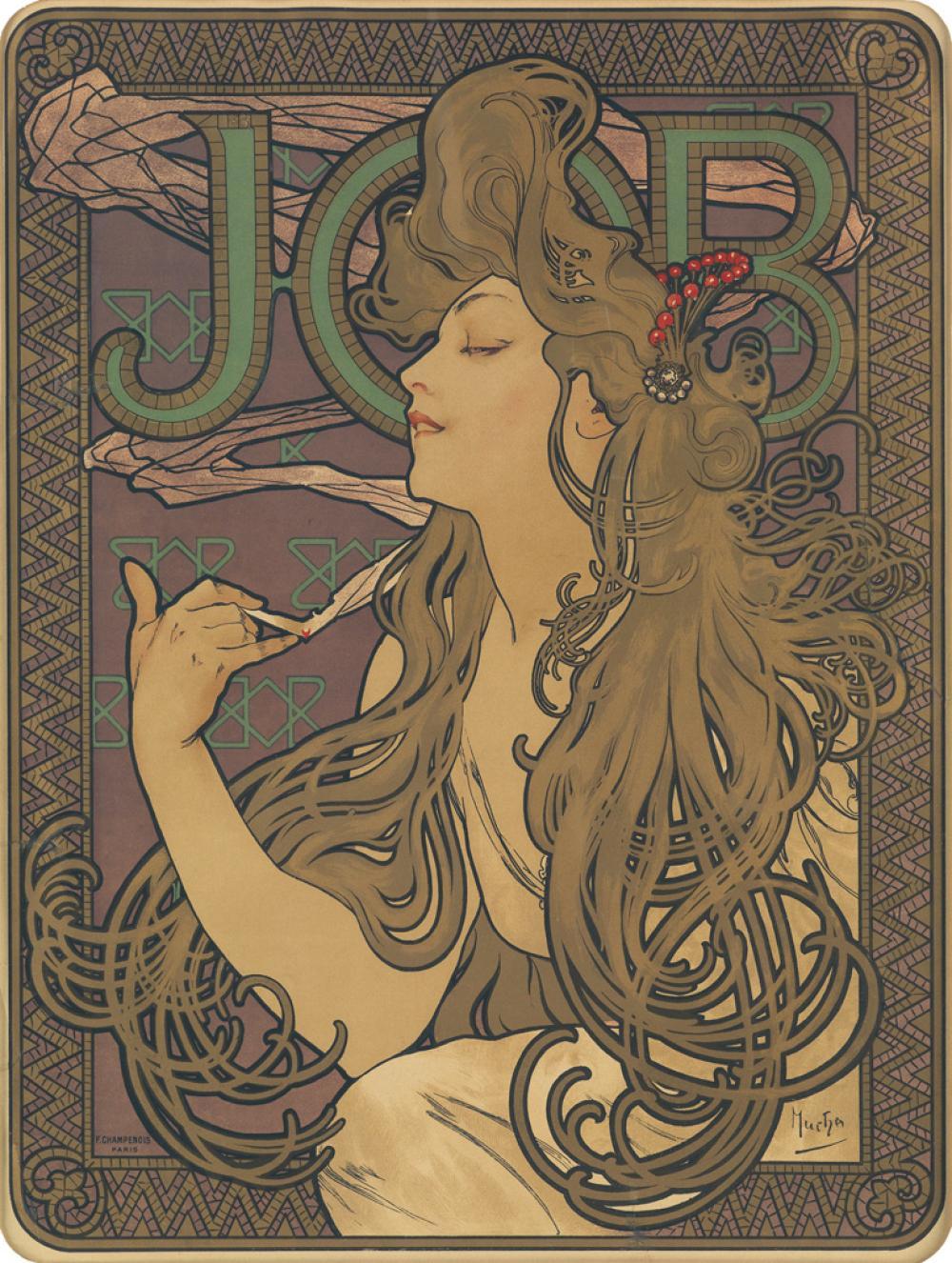 ALPHONSE MUCHA (1860-1939). JOB. 1896. 21x16 inches, 53x42 cm. F. Champenois, Paris.