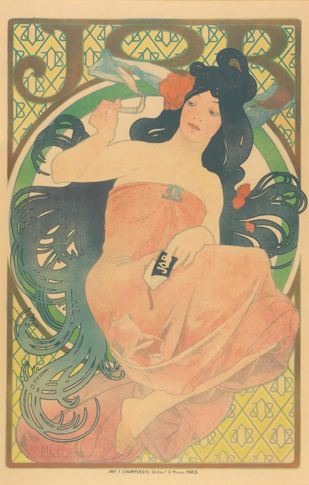 ALPHONSE MUCHA (1860-1939). JOB. 1898. 60x38 inches, 153x97 cm. F. Champenois, Paris.