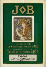 ALPHONSE MUCHA (1860-1939). JOB. Enamel sign. After 1897. 18x12 inches, 47x32 cm. B. Sirven, Toulouse.