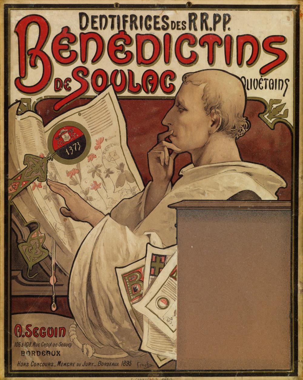 ALPHONSE MUCHA (1860-1939). BÉNÉDICTINS DE SOULAC. Circa 1896. 14x11 inches, 36x29 cm. F. Champenois, Paris.
