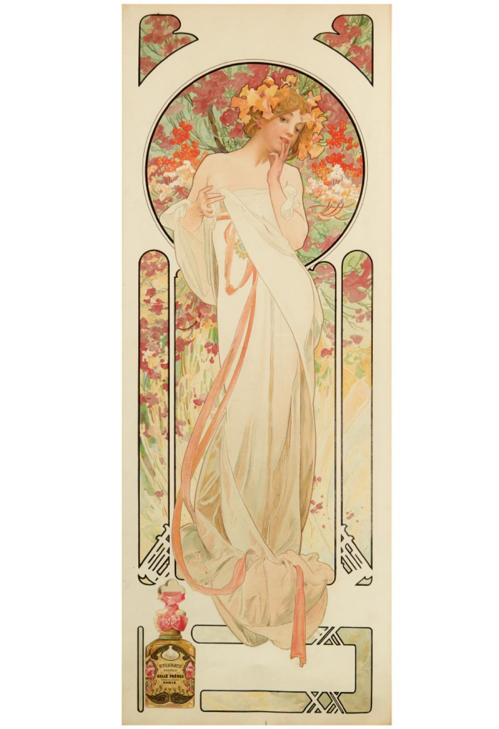 ALPHONSE MUCHA (1860-1939). [PARFUMERIE GELLÉ FRÈRES / SYLVANIS ESSENCE.] 1899. 24x9 inches, 61x23 cm. [F. Champenois, Paris.]