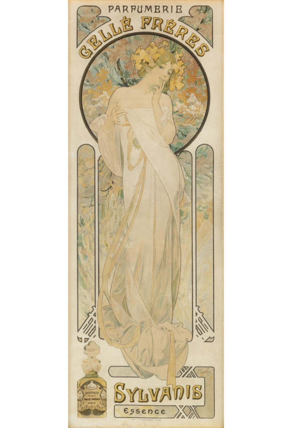 ALPHONSE MUCHA (1860-1939). PARFUMERIE GELLÉ FRÈRES / SYLVANIS ESSENCE. 1899. 24x9 inches, 61x23 cm. F. Champenois, Paris.