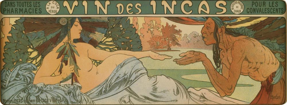 ALPHONSE MUCHA (1860-1939). VIN DES INCAS. 1897. 5x14 inches, 13x35 cm.