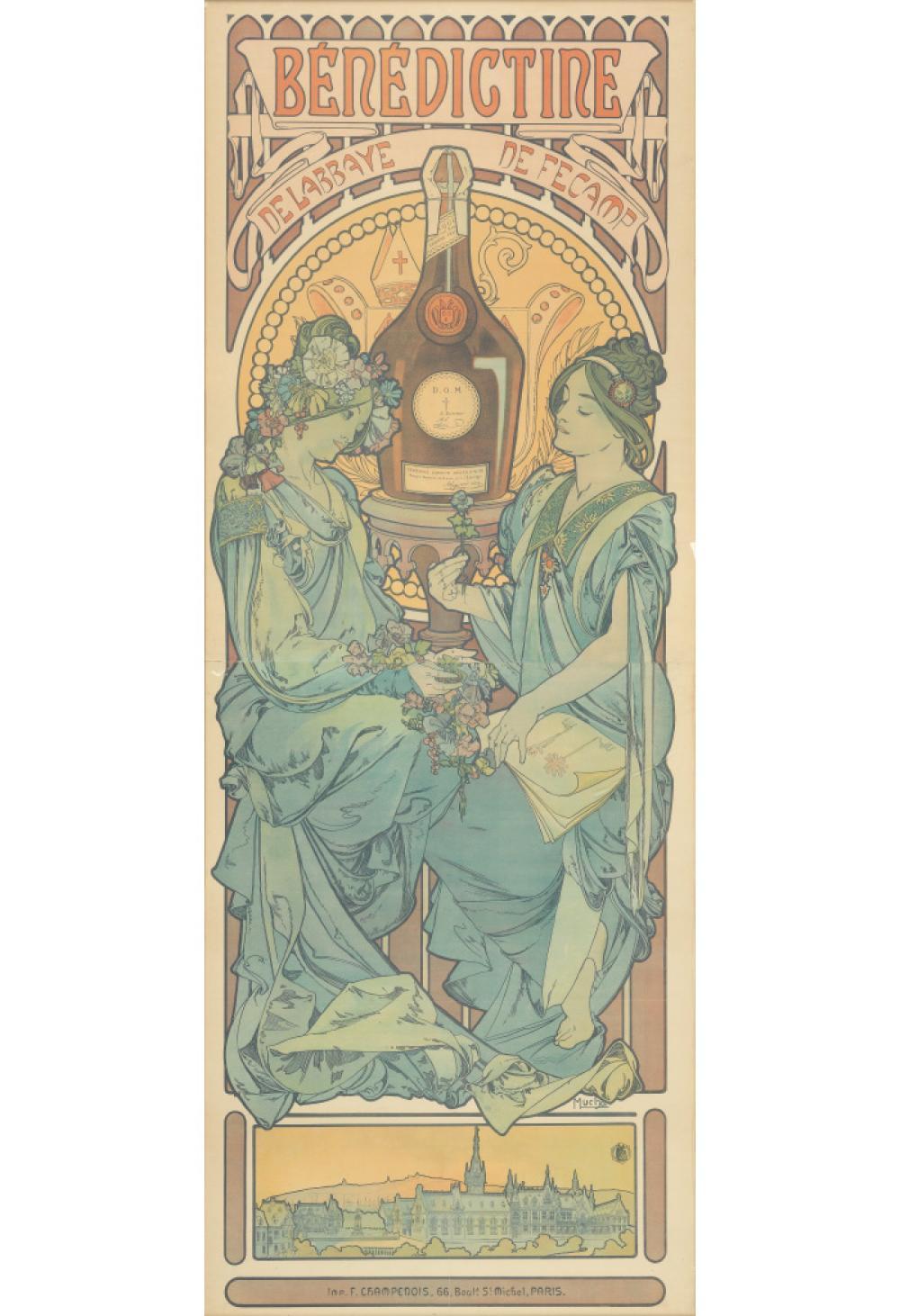 ALPHONSE MUCHA (1860-1939). BÉNÉDICTINE. 1898. 80x29 inches, 203x75 cm. F. Champenois, Paris.