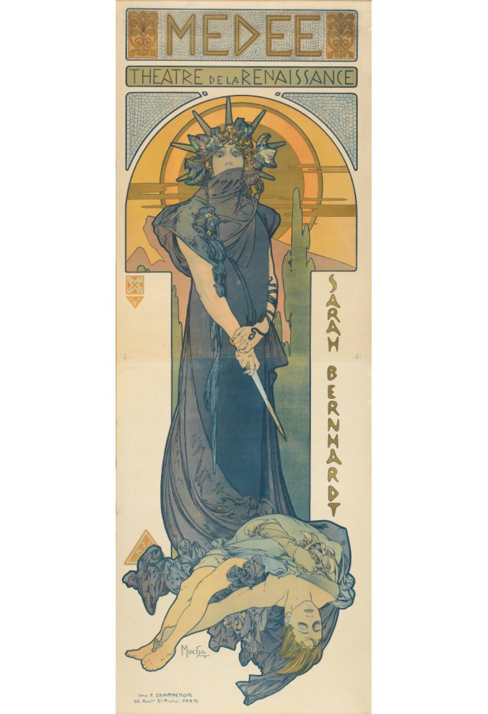 ALPHONSE MUCHA (1860-1939). MEDEE / SARAH BERNHARDT. 1898. 81x29 inches, 207x75 cm. F. Champenois, Paris.