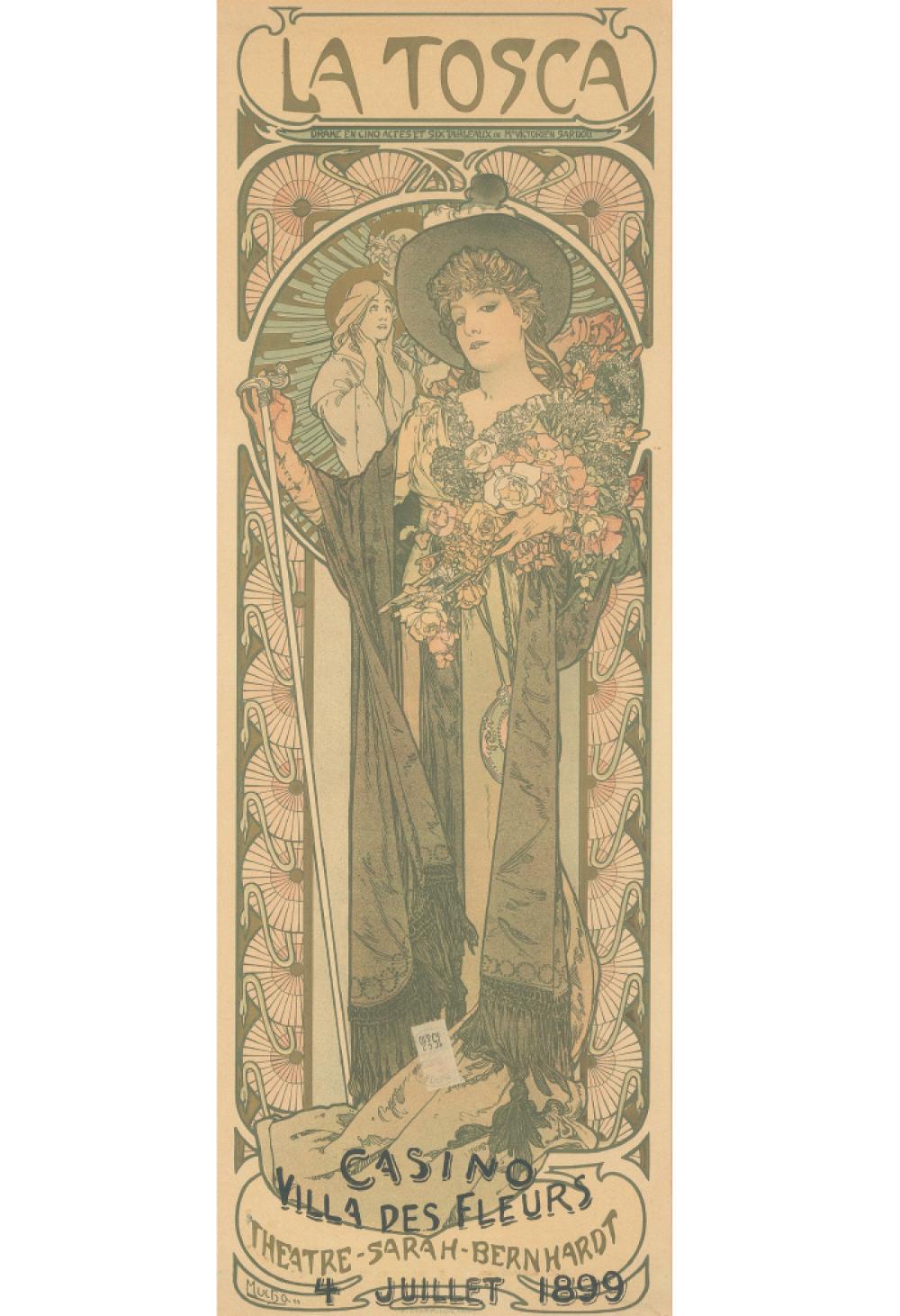 ALPHONSE MUCHA (1860-1939). LA TOSCA. 1898. 40x13 inches, 101x35 cm. F. Champenois, Paris.