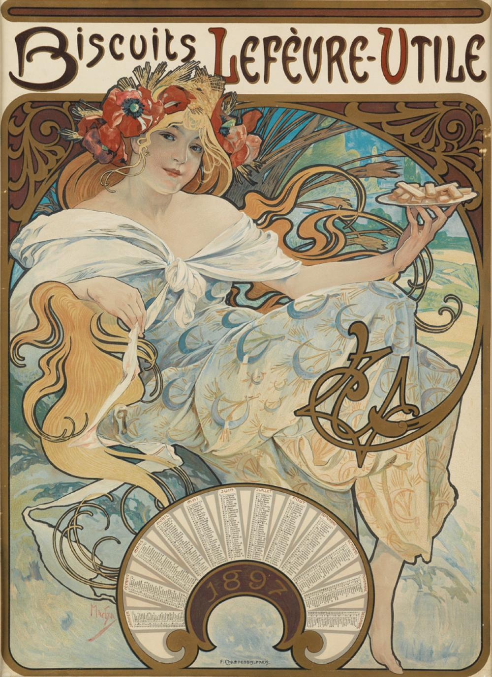 ALPHONSE MUCHA (1860-1939). BISCUITS LEFÈVRE - UTILE. 1897. 23x17 inches, 60x17 cm. F. Champenois, Paris.
