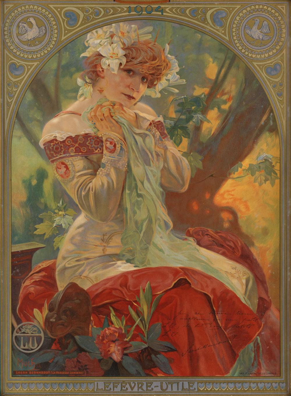 ALPHONSE MUCHA (1860-1939). LEFÈVRE - UTILE / SARAH BERNHARDT. 1903. 27x20 inches, 69x50 cm. F. Champenois, Paris.