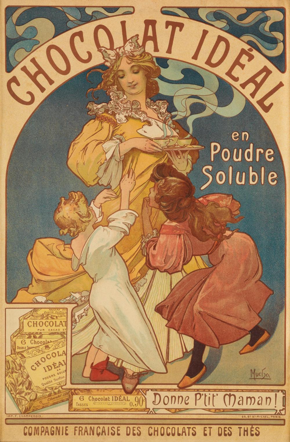 ALPHONSE MUCHA (1860-1939). CHOCOLAT IDÉAL. 1897. 21x13 inches, 53x35 cm. F. Champenois, Paris.
