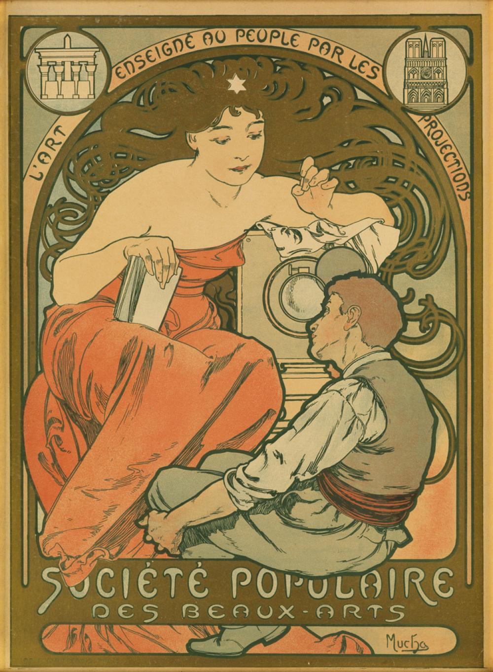 ALPHONSE MUCHA (1860-1939). SOCIÉTÉ POPULAIRE DES BEAUX - ARTS. 1897. 24x18 inches, 63x47 cm. F. Champenois, Paris.