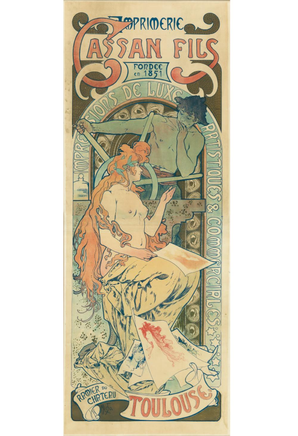 ALPHONSE MUCHA (1860-1939). CASSAN FILS. 1896. 68x26 inches, 173x68 cm. Cassan Fils, Toulouse.