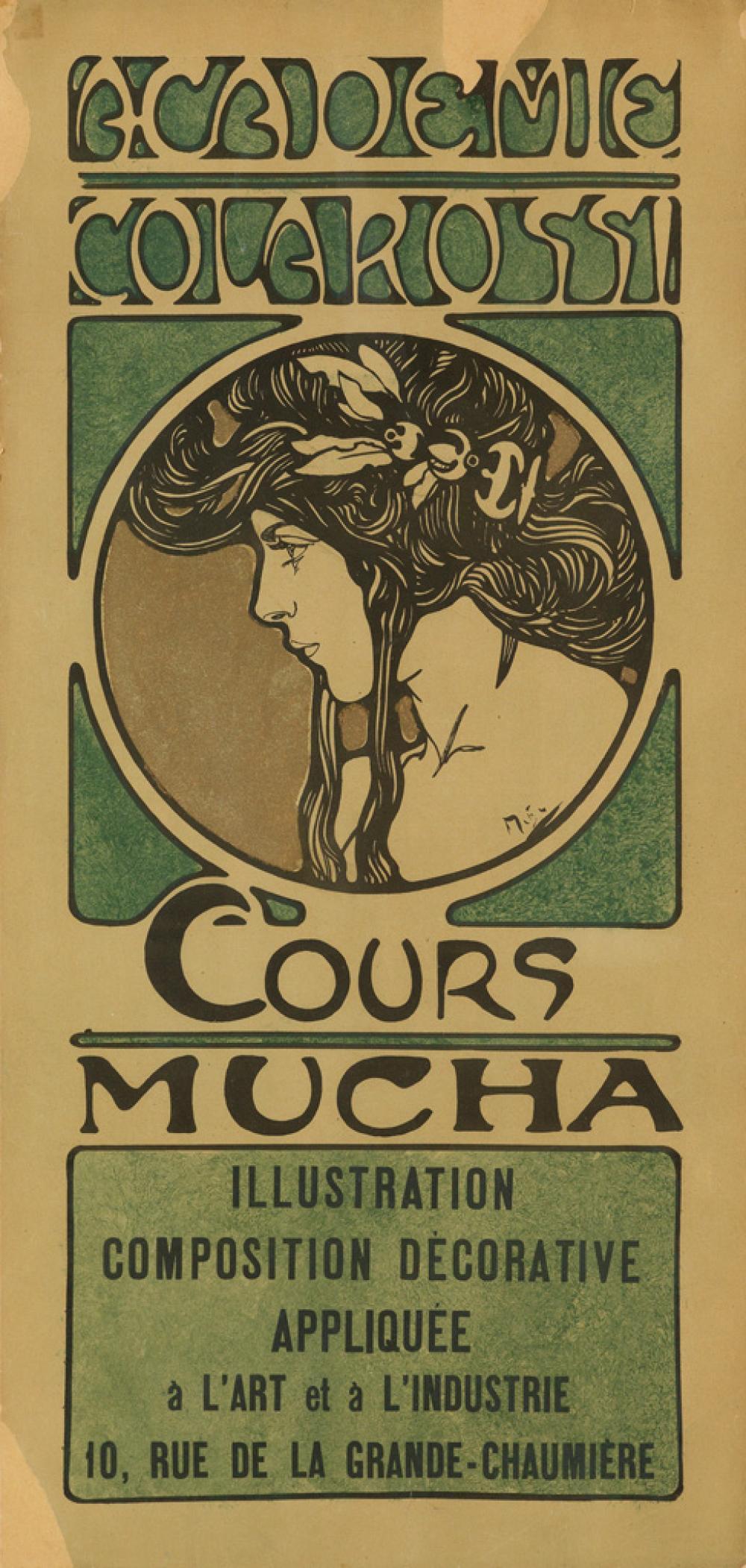 ALPHONSE MUCHA (1860-1939). ACADEMIE COLAROSSI / COURS MUCHA. 1900. 27x13 inches, 69x33 cm.