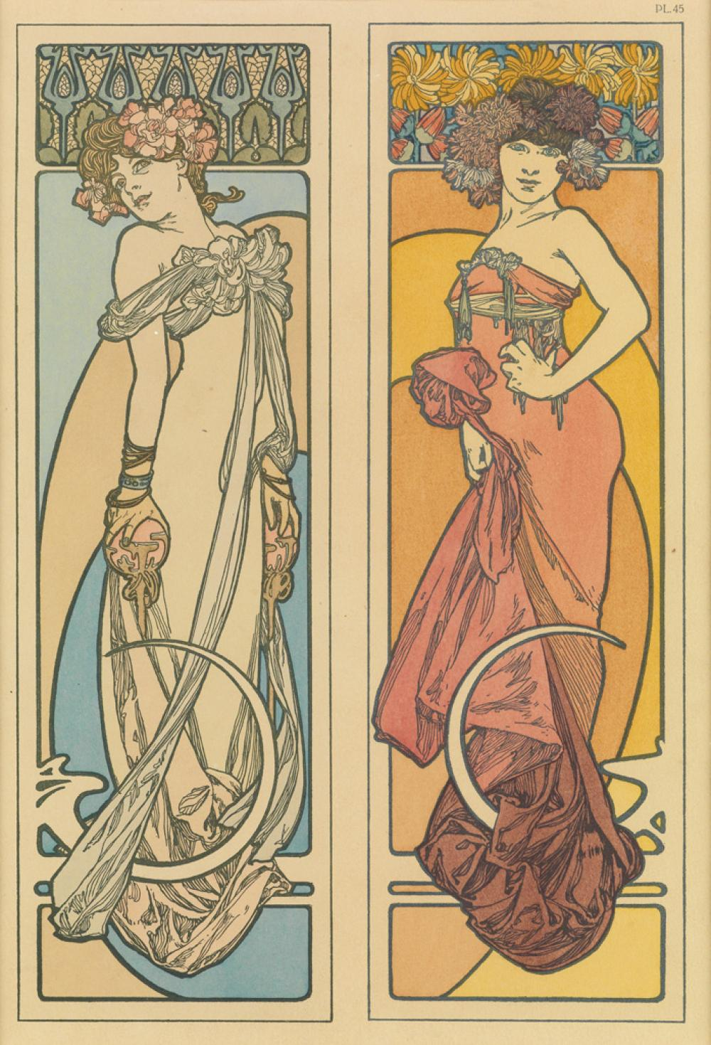 ALPHONSE MUCHA (1860-1939). DOCUMENTS DÉCORATIFS. Group of 10 plates. 1902. Sizes vary. [Emile Levy, Paris.]