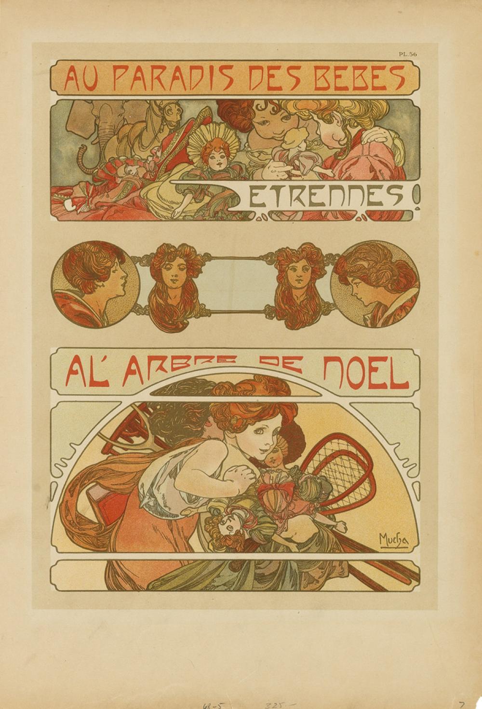 ALPHONSE MUCHA (1860-1939). AU PARADIS DES BEBES / A L''ARBRE DE NOEL. Documents Décoratifs pl. 56. 1902. 17x11 inches, 43x29 cm. [Emil