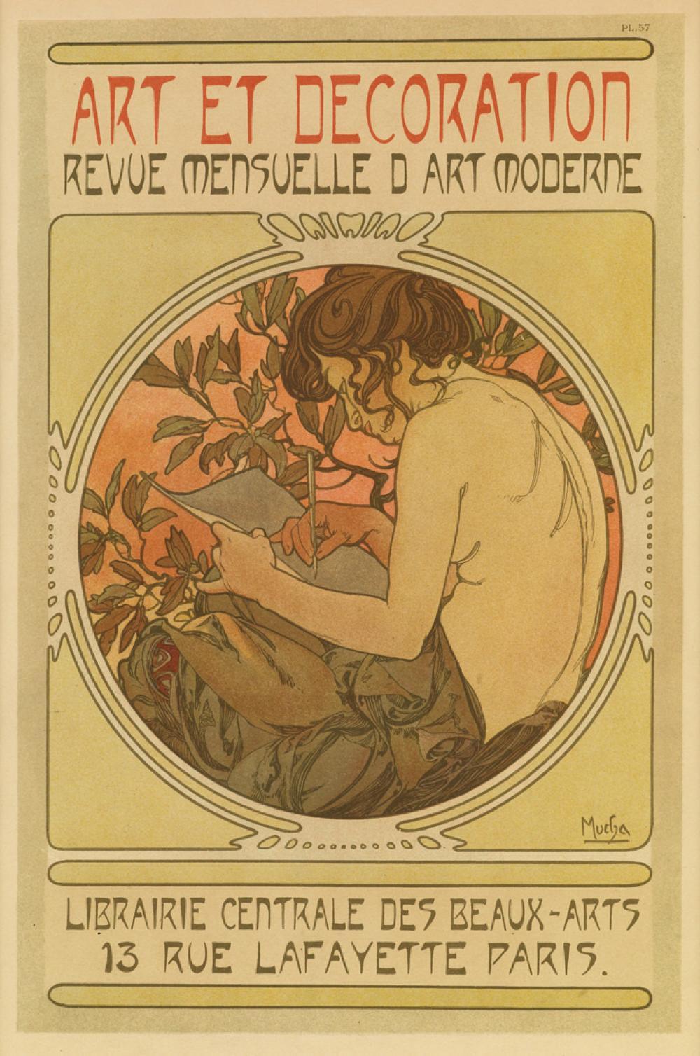 ALPHONSE MUCHA (1860-1939). ART ET DECORATION. Documents Décoratifs pl. 57. 1902. 14x10 inches, 37x25 cm. [Emile Levy, Paris.]