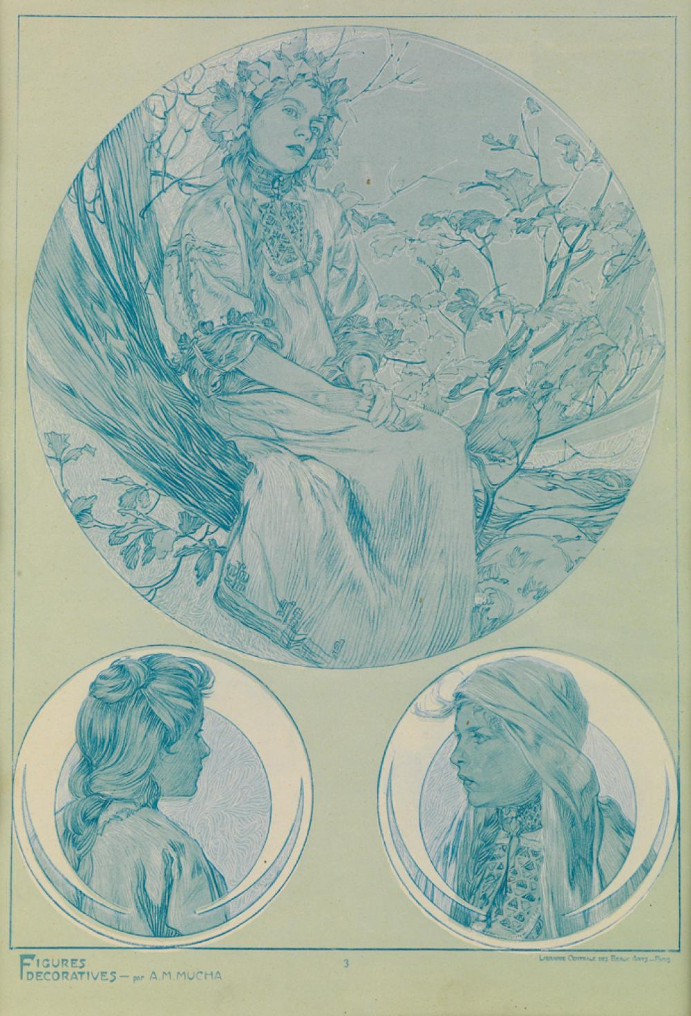 ALPHONSE MUCHA (1860-1939). [FIGURES DÉCORATIFS.] Group of 4 plates. 1905. Each approximately 15x11 inches, 40x28 cm. [Emile Levy, Pari