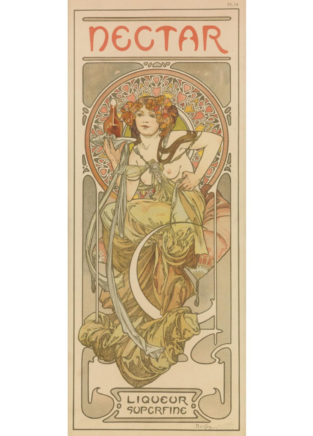 ALPHONSE MUCHA (1860-1939). NECTAR. Documents Décoratifs, pl. 14. 1902. 16x10 inches, 42x27 cm. [Emile Levy, Paris.]