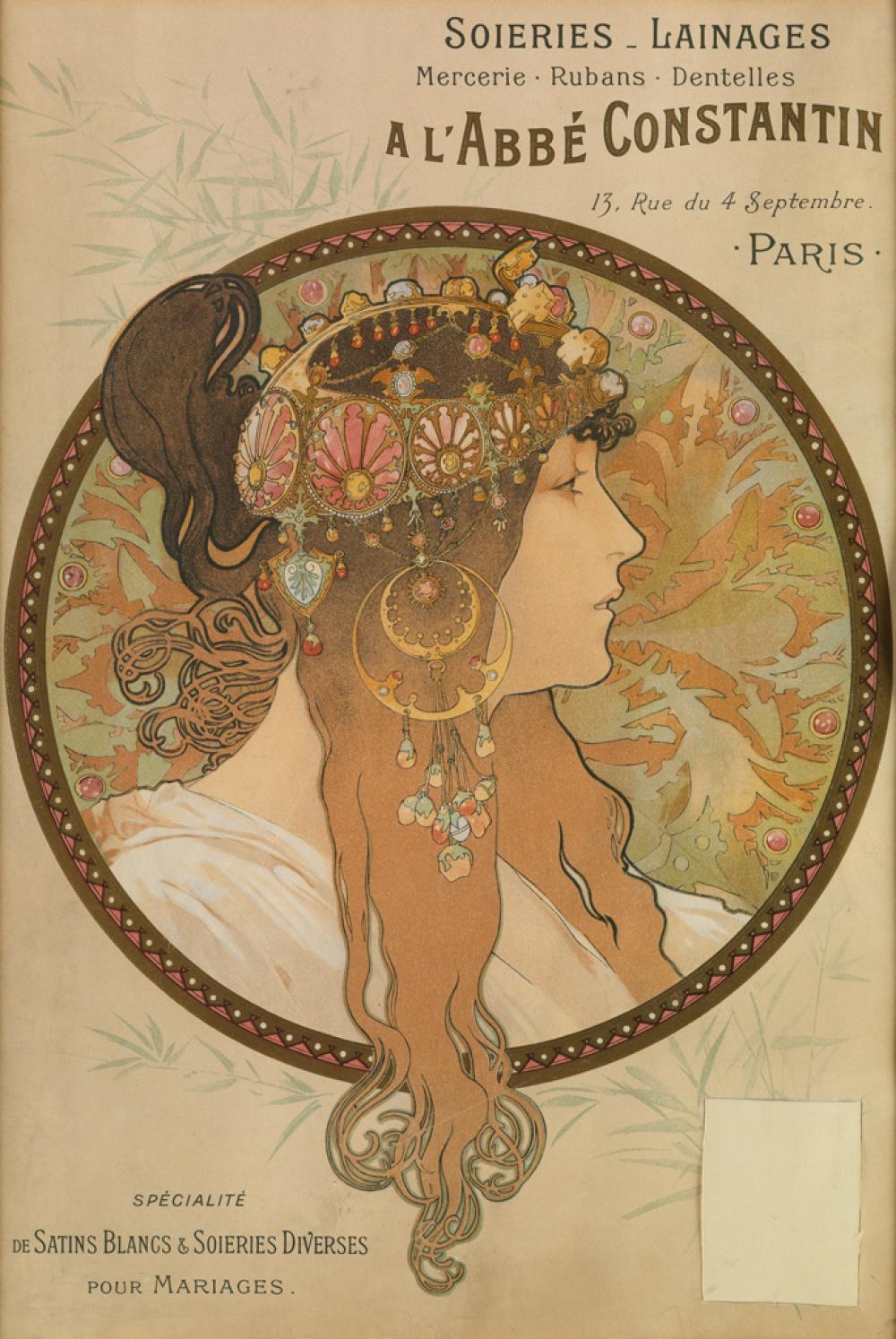 ALPHONSE MUCHA (1860-1939). [TÊTE BYZANTINE BRUNETTE] / SOIERIES LAINAGES A L''ABBÉ CONSTANTIN. Circa 1897. 17x11 inches, 43x29 cm. [F.