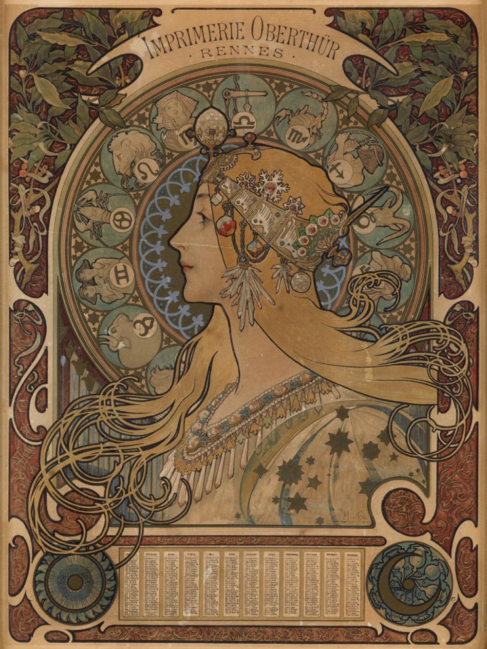 ALPHONSE MUCHA (1860-1939). [ZODIAC] / IMPRIMERIE OBERTHÜR. 1898. 17x13 inches, 43x33 cm. [F. Champenois, Paris.]