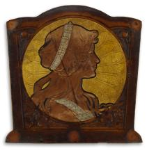 D''APRÈS ALPHONSE MUCHA (1860-1939). [LEATHER WORK.] 12x12 inches, 31x31 cm.