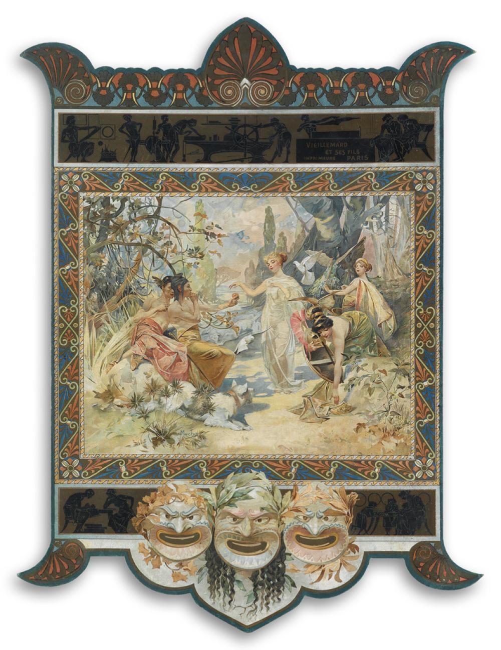 ALPHONSE MUCHA (1860-1939). [JUDGEMENT OF PARIS.] Calendar holder. 1895. 24x18 inches, 61x46 cm. [Vieillemard & Ses Filles, Paris.]