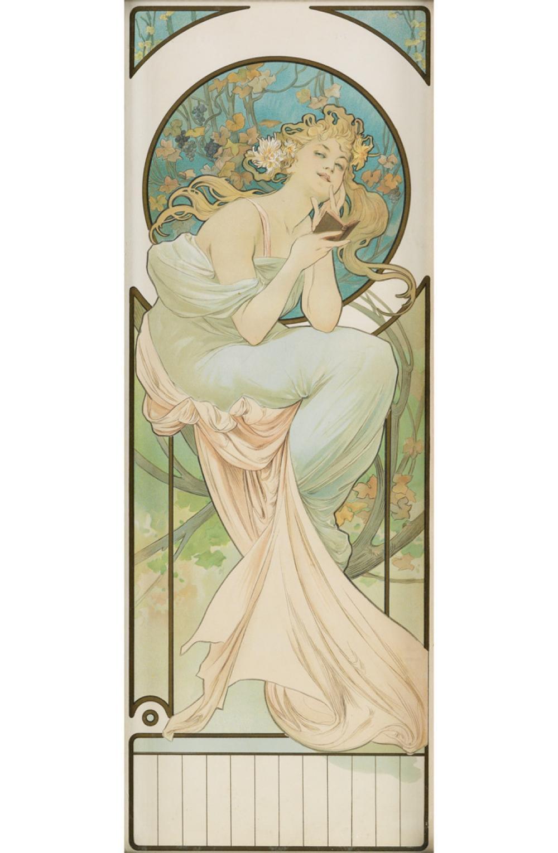 ALPHONSE MUCHA (1860-1939). [CALENDAR.] Circa 1897. 22x8 inches, 56x21 cm.
