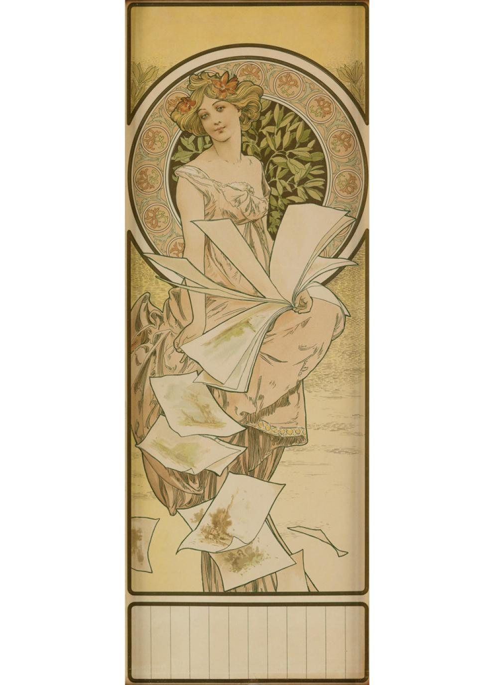 ALPHONSE MUCHA (1860-1939). [CHAMPENOIS CALENDAR.] Circa 1898. 22x8 inches 56x21,cm. [F. Champenois, Paris.]