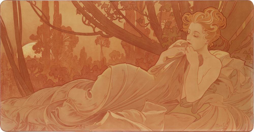 ALPHONSE MUCHA (1860-1939). [AURORE ET CRÉPUSCULE / DAWN & DUSK]. Two decorative panels. 1899. Each 18x34 inches, 47x87 cm. [F. Champen