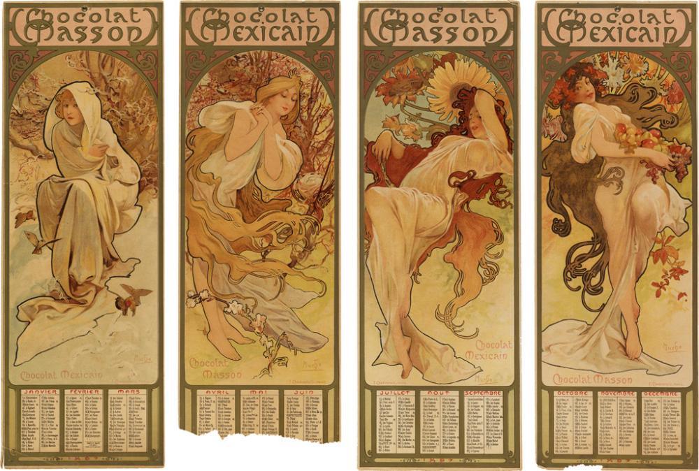 ALPHONSE MUCHA (1860-1939). CHOCOLAT MASSON / CHOCOLAT MEXICAIN / [FOUR SEASONS.] 1896. Sizes vary, each panel approximately 16x5 inche