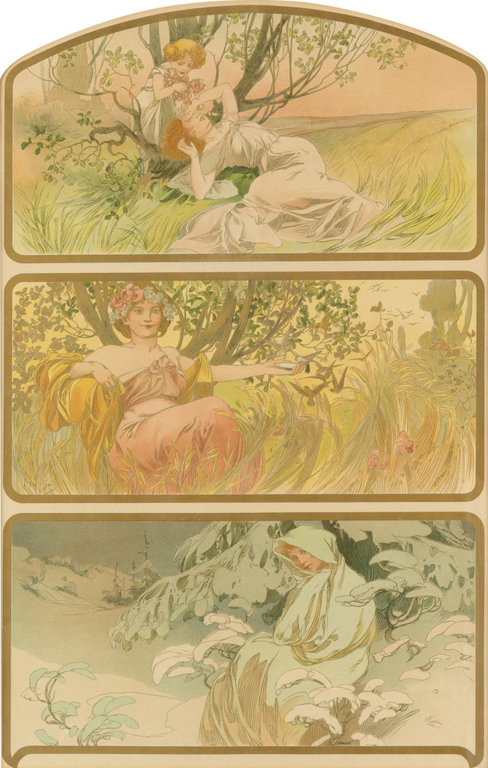 ALPHONSE MUCHA (1860-1939). [THREE SEASONS.] Circa 1898. 24x16 inches, 62x42 cm. [F. Champenois, Paris.]