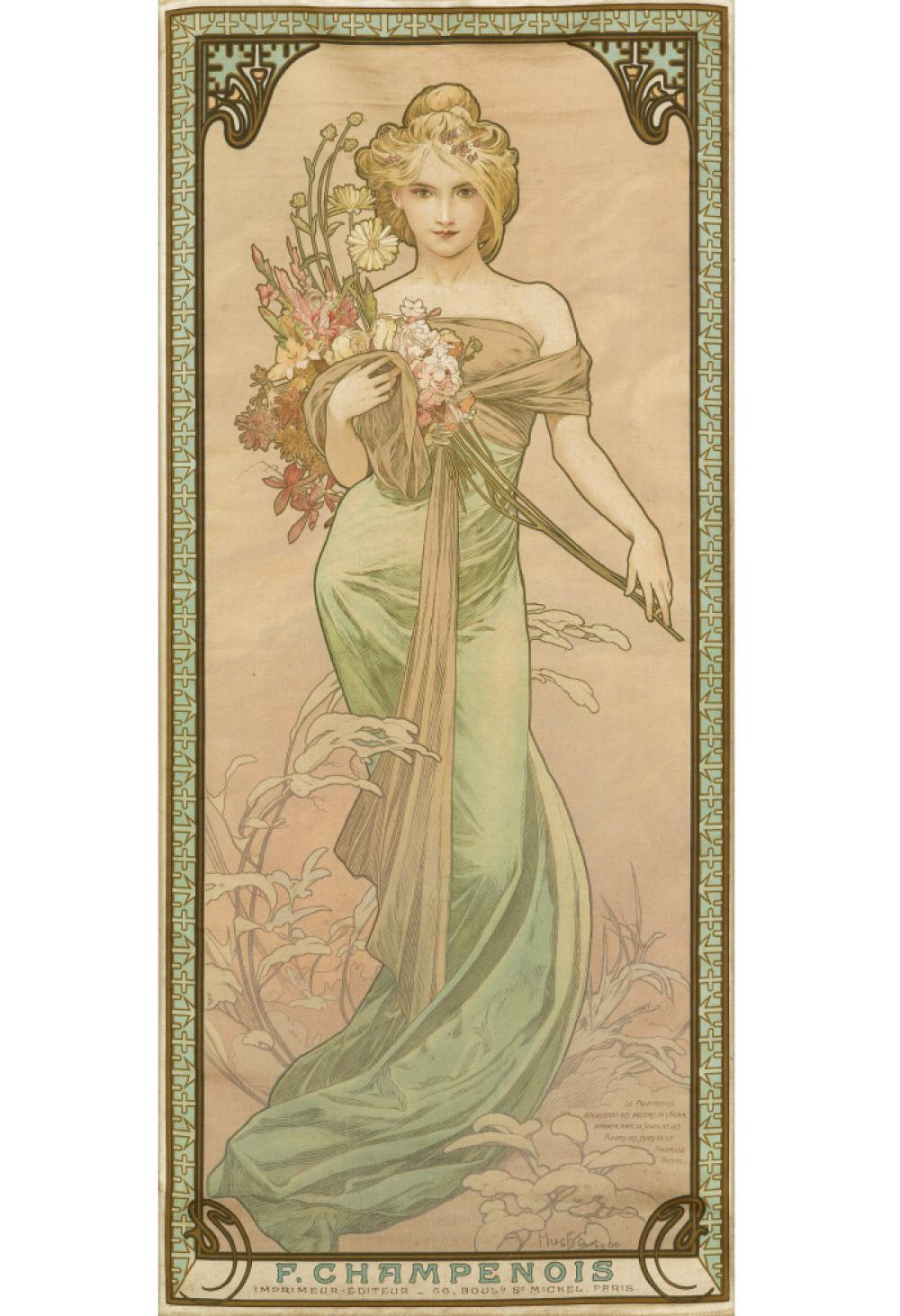 ALPHONSE MUCHA (1860-1939). [THE SEASONS.] Group of 4 decorative panels on silk. 1900. Each approximately 27x12 inches, 66x30 cm. F. Ch
