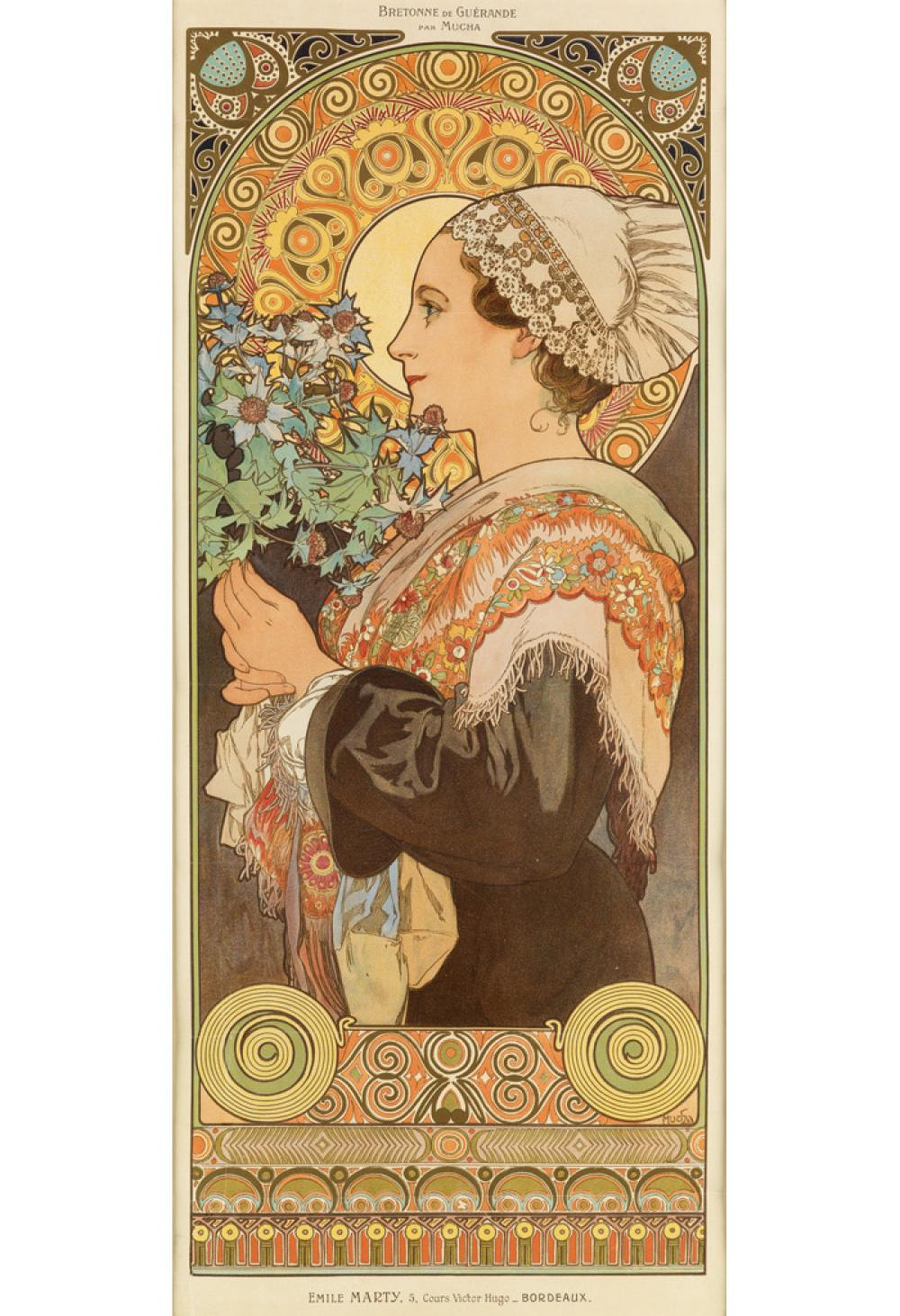 ALPHONSE MUCHA (1860-1939). BRETONNE DE GUÉRANDE PAR MUCHA / [SEA HOLLY.] 1902. 27x11 inches, 69x29 cm. [F. Champenois, Paris].