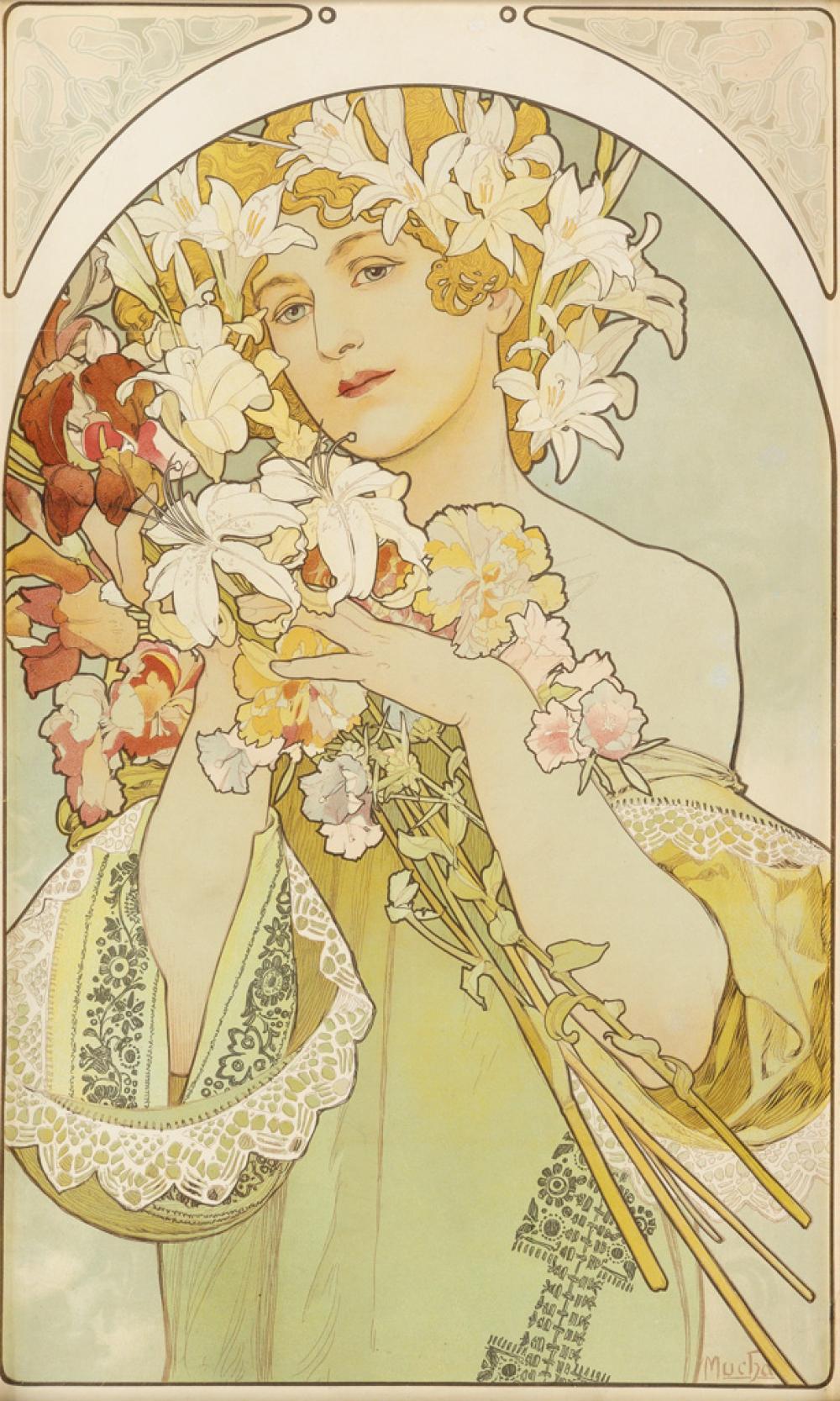 ALPHONSE MUCHA (1860-1939). [LA FLEUR.] 1897. 24x14 inches, 61x37 cm. F. Champenois, Paris.