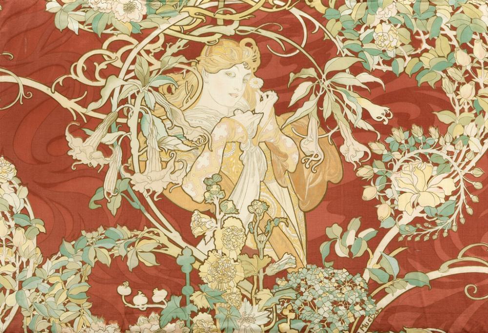 ALPHONSE MUCHA (1860-1939). [FEMME À LA MARGUERITE.] Satin panel. Circa 1898. 20x39 inches, 52x78 cm.