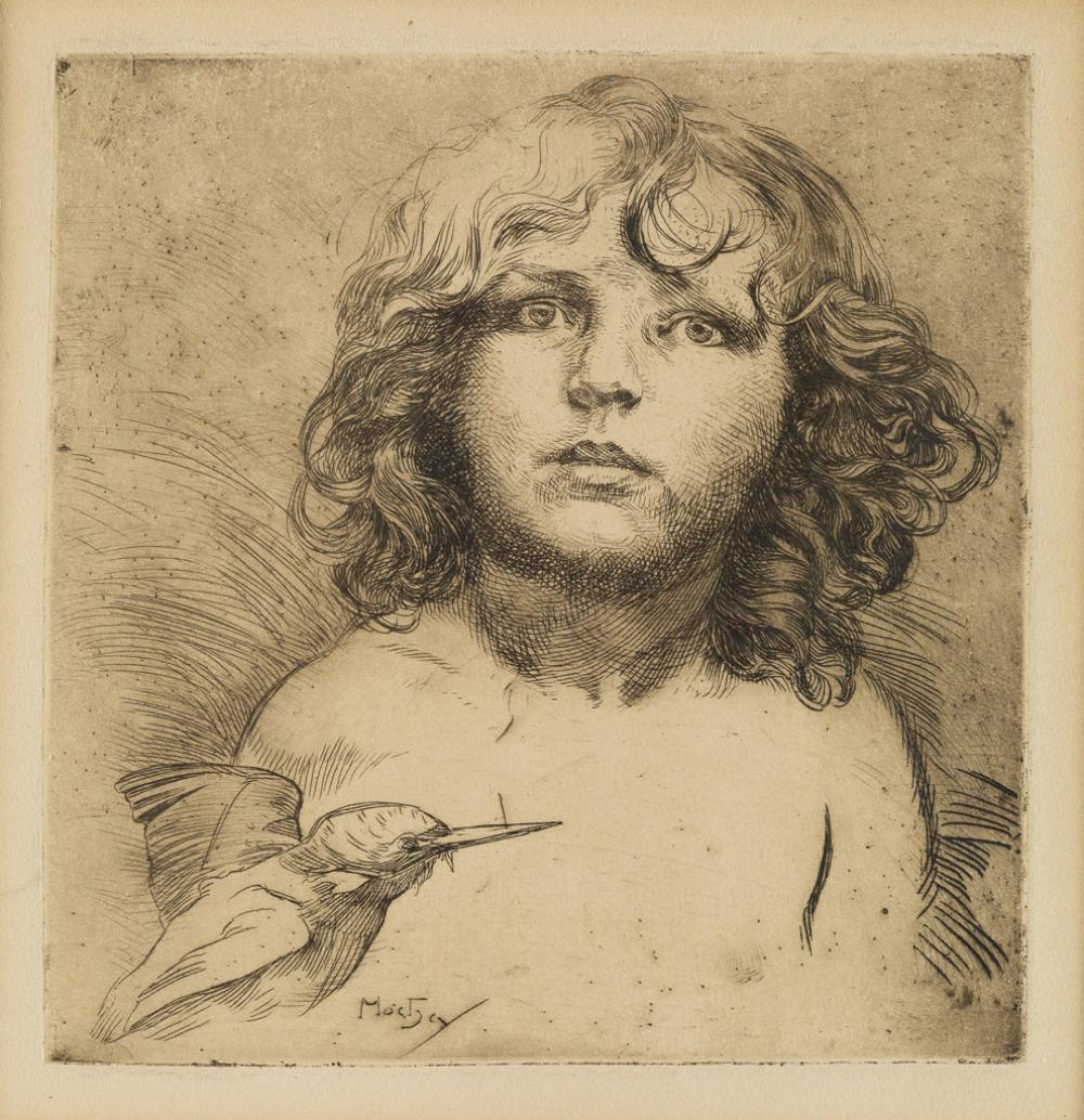 ALPHONSE MUCHA (1860-1939). [JIRÍ MUCHA AND HUMMINGBIRD.] Etching. Circa 1920. 8x8 inches, 30x21 cm.