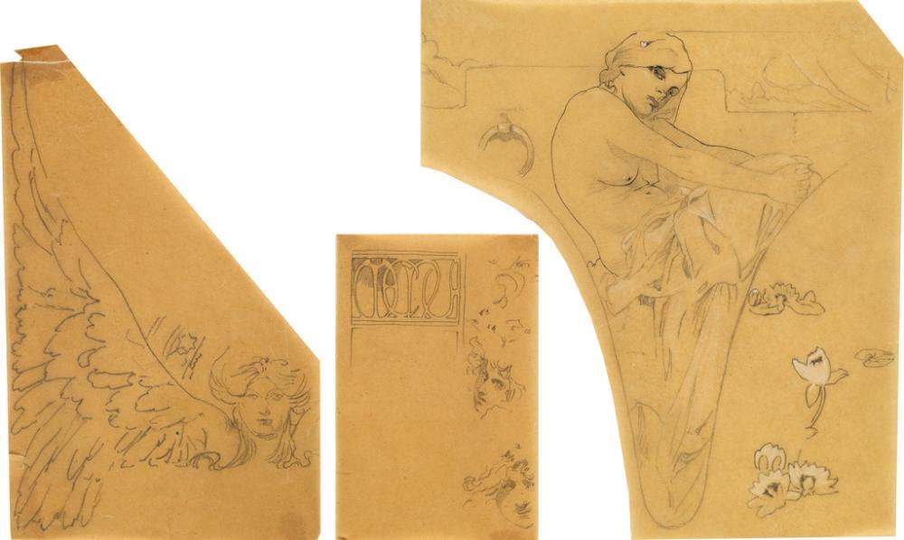 ALPHONSE MUCHA (1860-1939). [DOCUMENTS DÉCORATIFS & FIGURES DÉCORATIFS.] Group of 3 preparatory pencil sketches. Circa 1902 & 1905. Siz