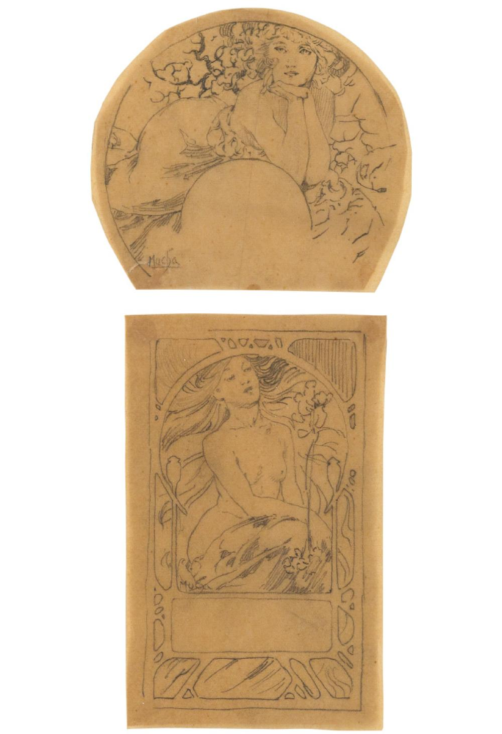 ALPHONSE MUCHA (1860-1939). [DOCUMENTS DÉCORATIFS.] Two preparatory pencil sketches. Circa 1902. Approximately 4x4 inches, 10x11 cm, an