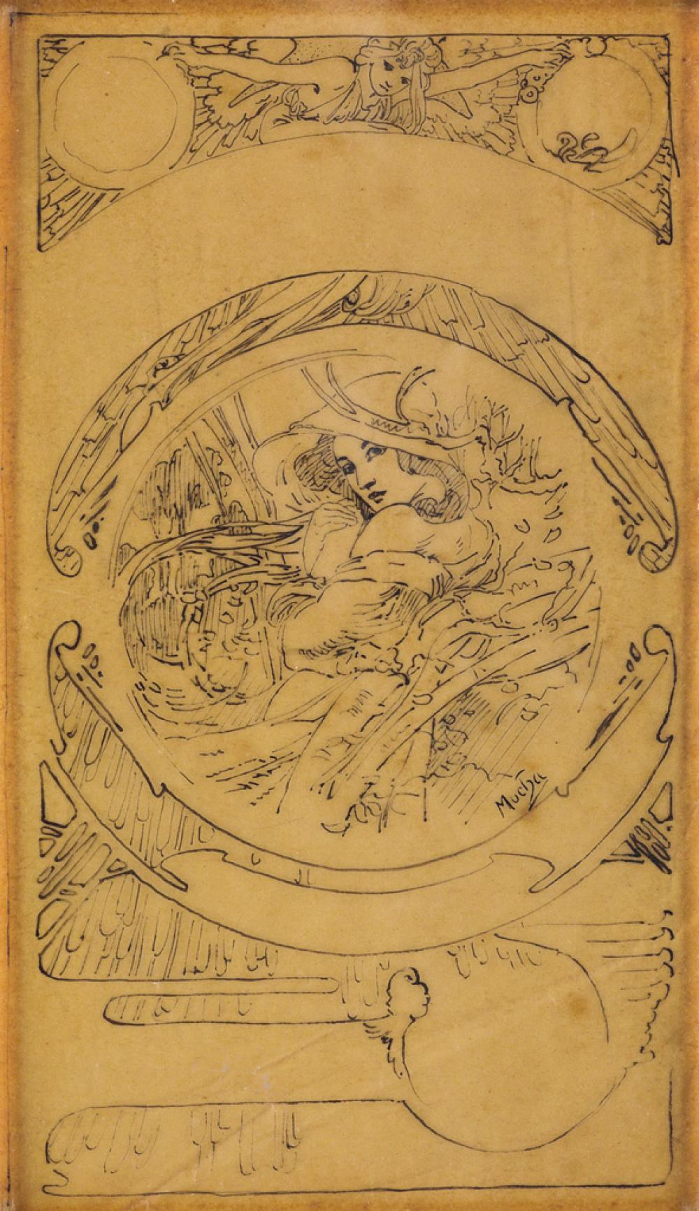 ALPHONSE MUCHA (1860-1939). [LE MOIS / NOVEMBER.] Pen and ink sketch. Circa 1899. 10x5 inches, 25x14 cm.