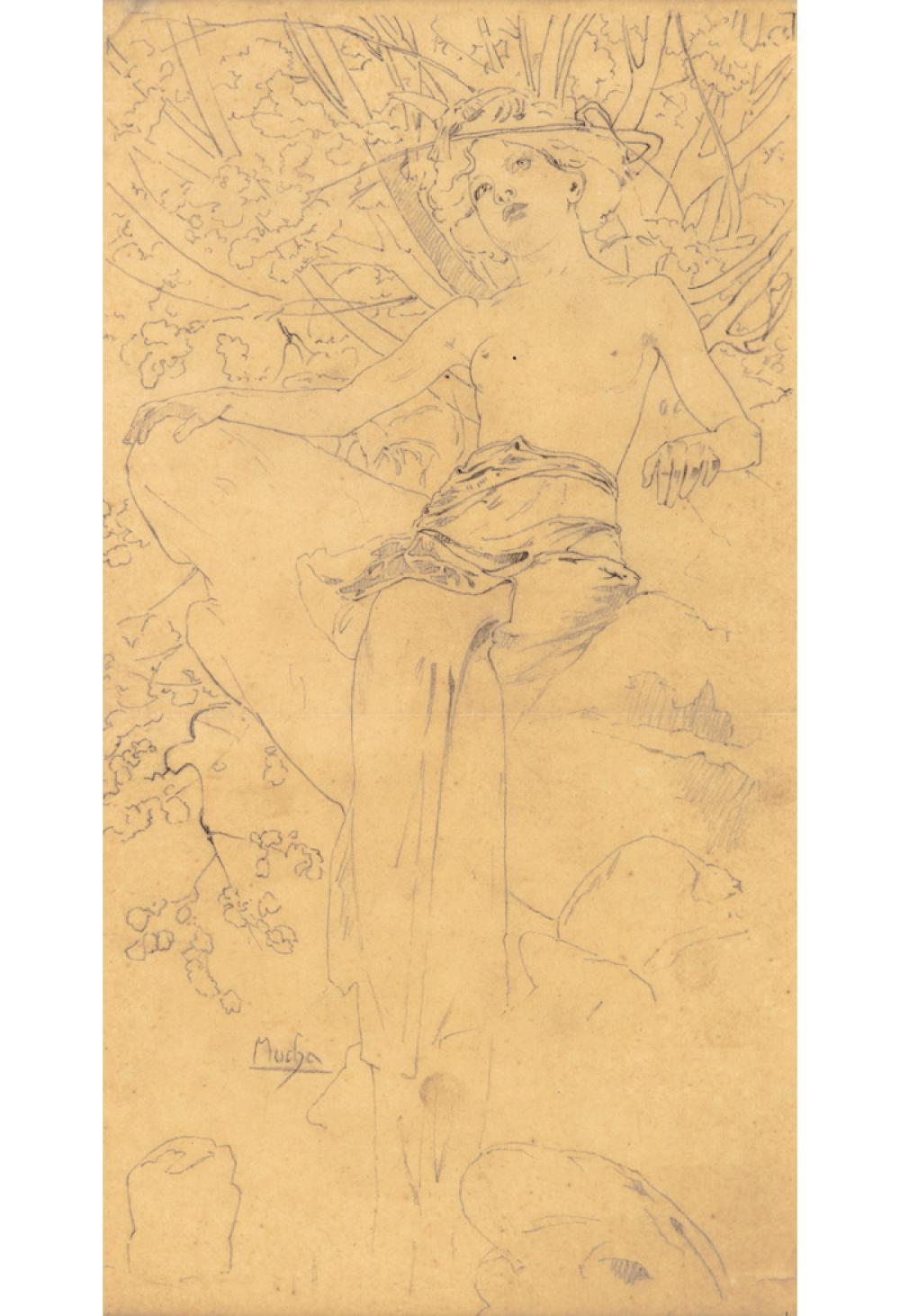 ALPHONSE MUCHA (1860-1939). [DOCUMENTS DÉCORATIFS.] Preparatory pencil sketch. Circa 1902. 14x7 inches, 35x19 cm.